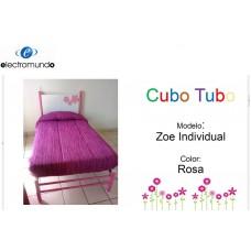 CAMA CUBO TUBO ZOE INDIVIDUAL ROSA